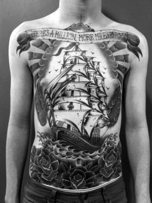 Mens Traditional Sailing Ship Clouds Full Chest Old School Tattoos