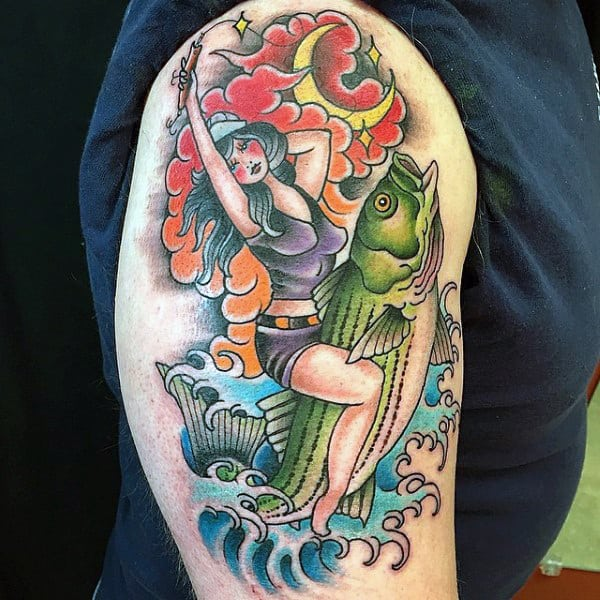 Mens Traditional Sailor Jerry Bicep Tattoo Woman Riding Bass Fish