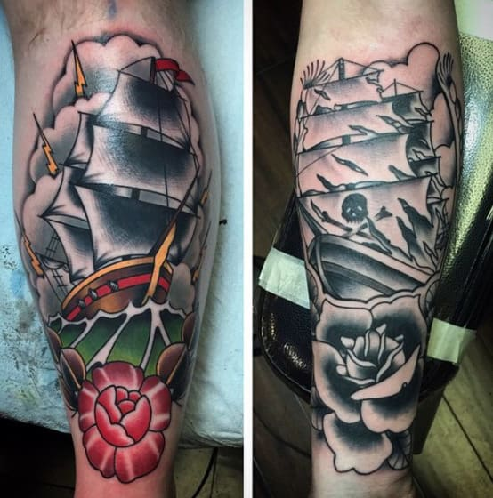 Mens Traditional Shin Tattoos Of Sailing Ship With Rose Flower