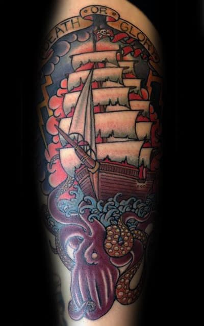 Mens Traditional Ship And Octopus Arm Tattoo Ideas