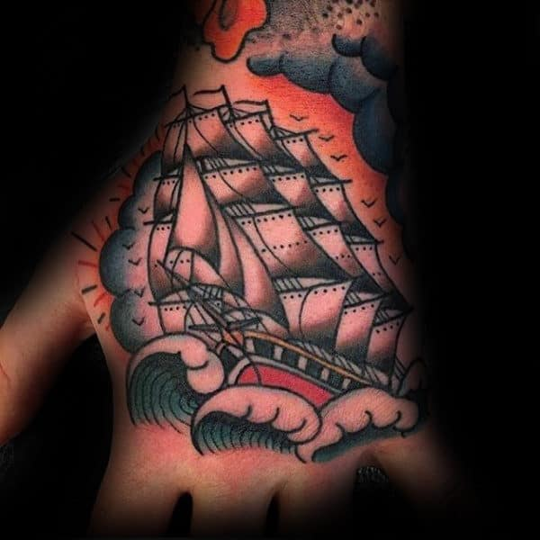 Mens Traditional Ship Hand Tattoos