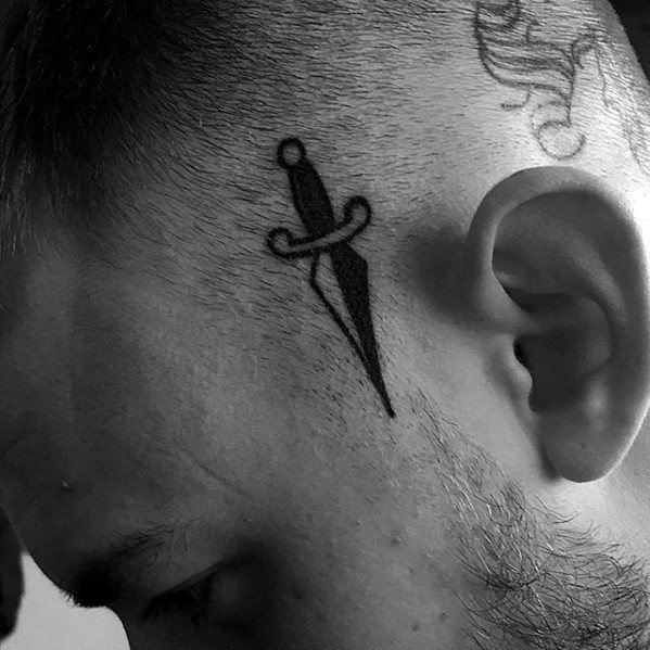 Mens Traditional Simple Dagger Head Tattoo Designs