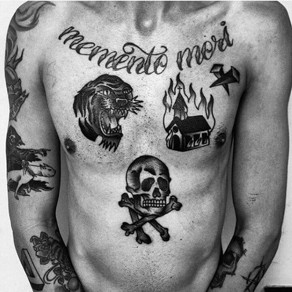 Mens Traditional Skull And Cross Bones Chest Tattoo