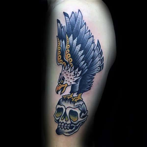 Mens Traditional Skull With Eagle Flying Bird Tattoo On Arm