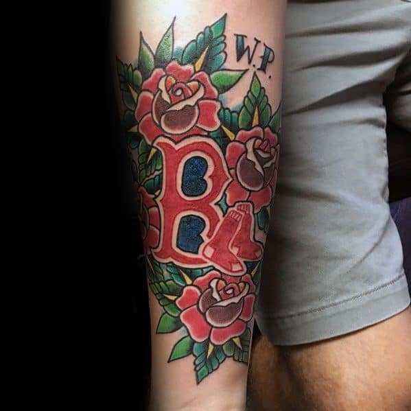 Mens Traditional Tattoo With Boston Red Sox Design Inner Forearm