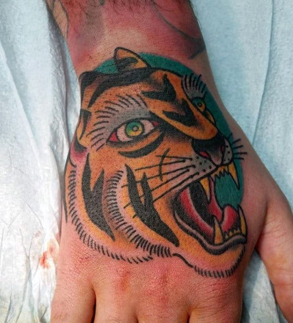 Mens Traditional Tiger Hand Tattoos