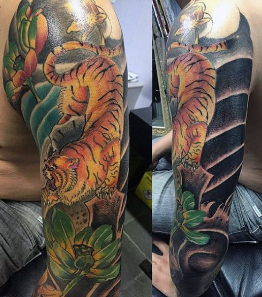 Men's Traditional Tiger Tattoo Sleeves In Color