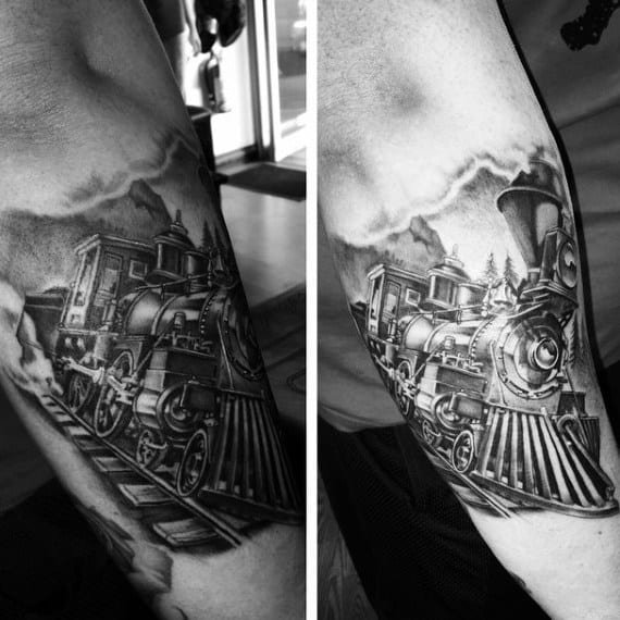 Mens Train Cab Tattoos Below Elbow
