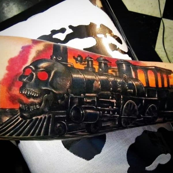 Mens Train Tattoo Of Rail Road Tracks Forearm
