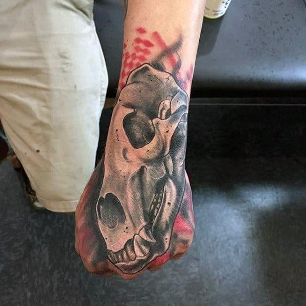 Mens Trash Polka Bear Skull Hand And Forearm Tattoo