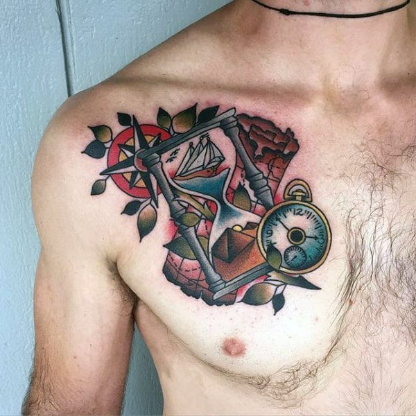 Mens Travelling Tattoos On Chest With Hourlgass And Map Design