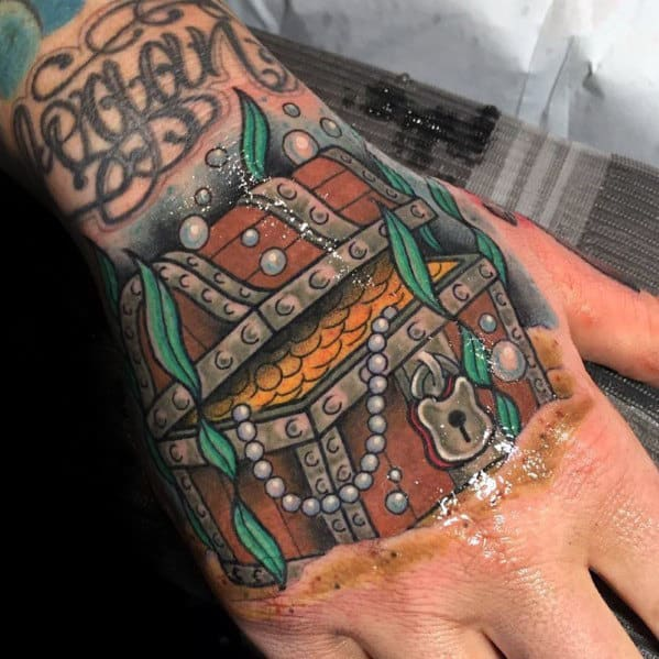Mens Treasure Chest Hand Tattoos