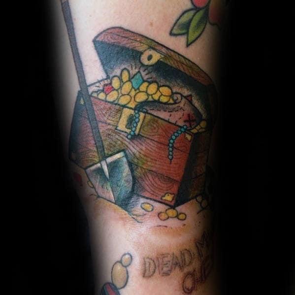 Mens Treasure Chest With Shovel Arm Tattoo