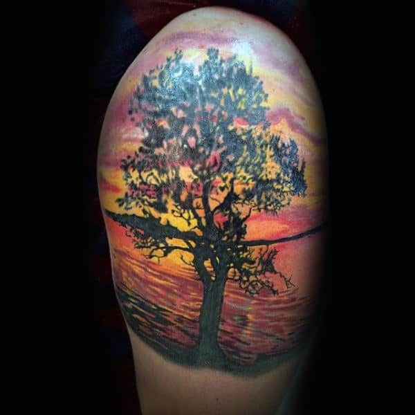 Mens Tree At Sunset Upperarm Silhouette Tattoo