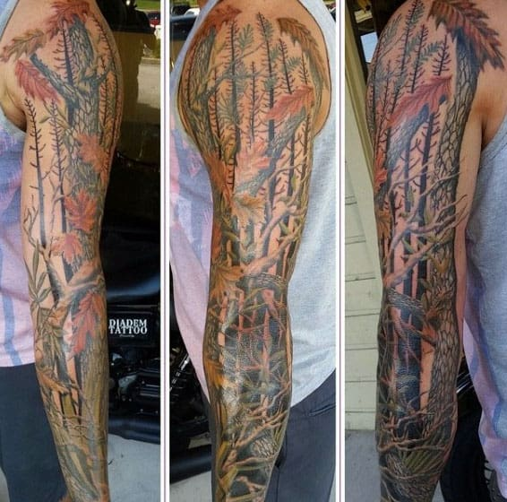 Mens Tree Branches Camouflage Full Sleeve Tattoo