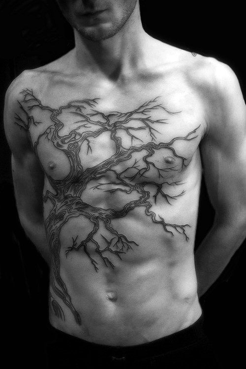 Men's Tree Chest Tattoo