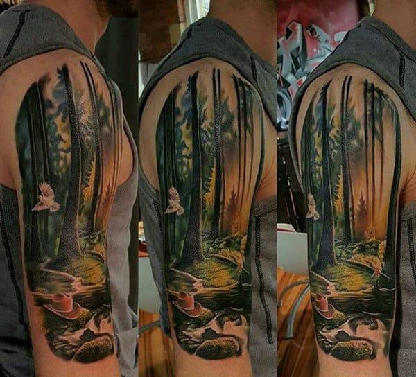 Mens Tree Half Sleeve Nature Tattoo