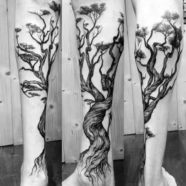 Mens Tree Leg Tattoo Ideas