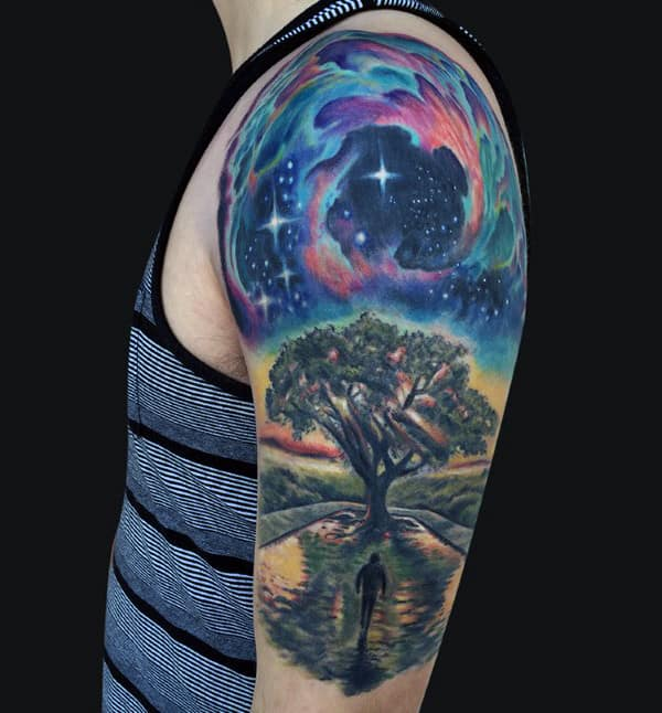 Mens Tree Of Life Sky Half Sleeve Tattoo Designs