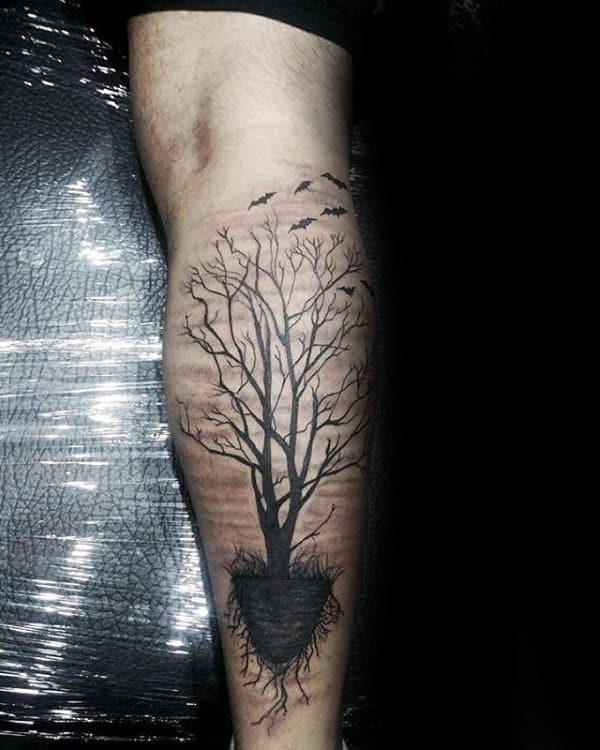 Mens Tree Roots Leg Calf Tattoo