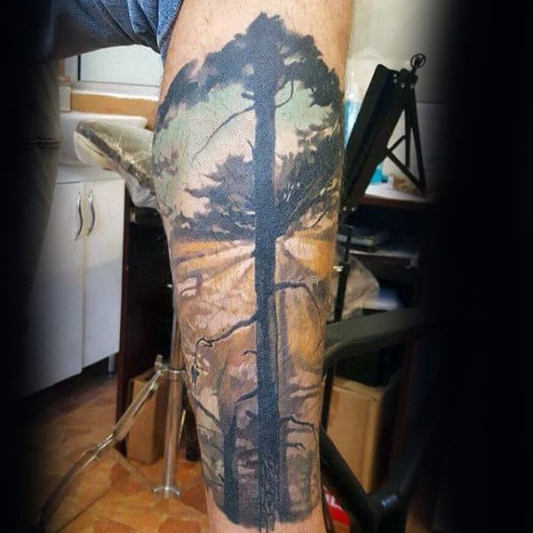 Mens Tree Sky Leg Sleeve Tattoos