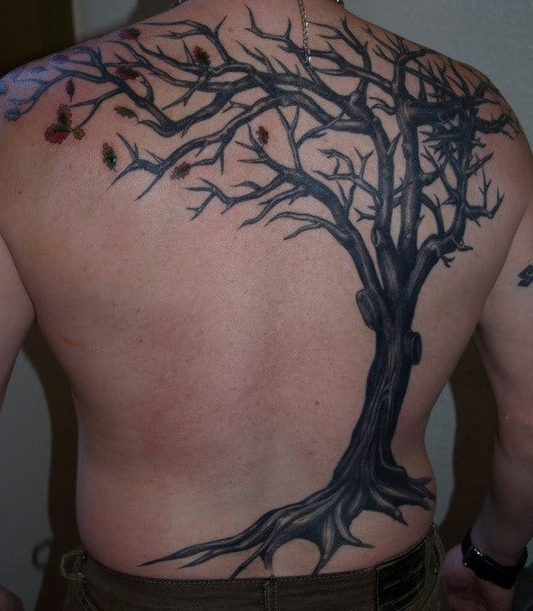 Mens Tree With Falling Leaves Back Tattoo