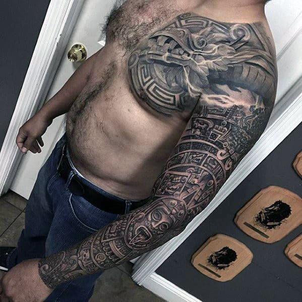 Mens Tribal Aztec Different Full Arm Sleeve Tattoo