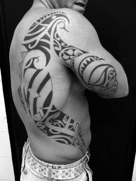 Mens Tribal Back Of Arm Tattoo Design Ideas