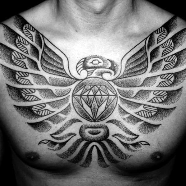 Mens Tribal Bird Shaded Black And Grey Ink Chest Tattoo With Diamond Design
