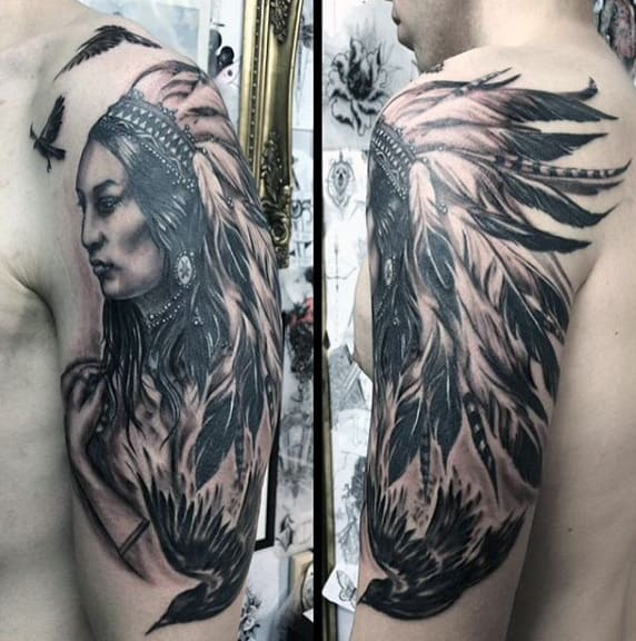 Mens Tribal Black Feather Tattoo On Shoulders