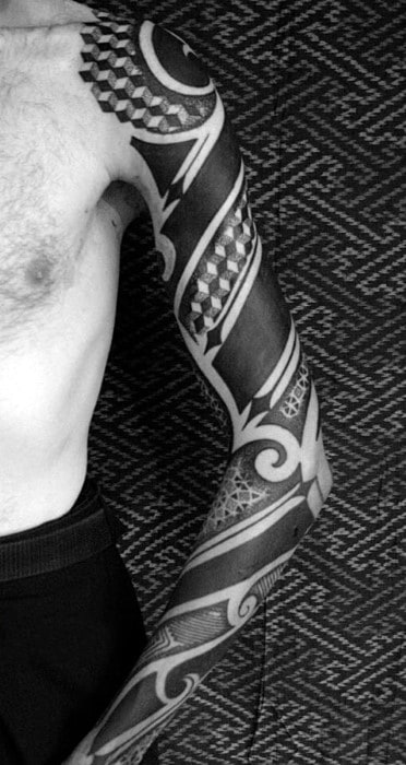 Mens Tribal Blackwork Full Sleeve Tattoo Design Ideas