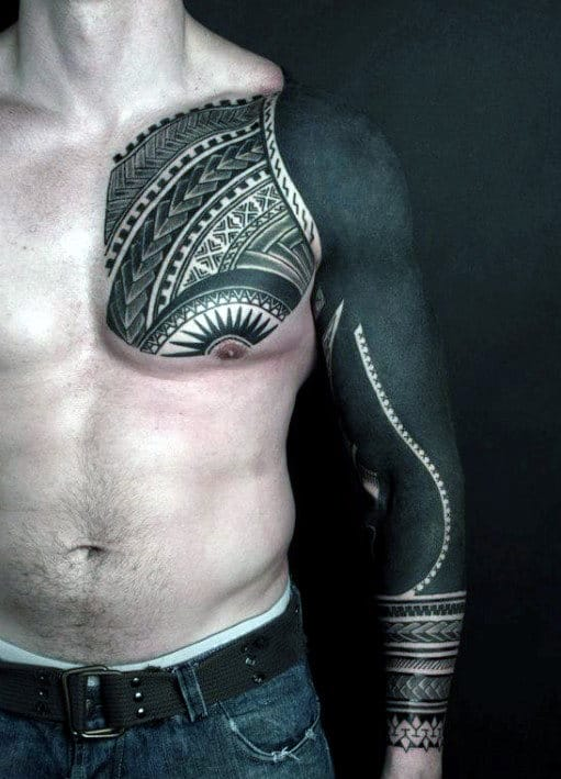 Men's Tribal Chest Tattoos