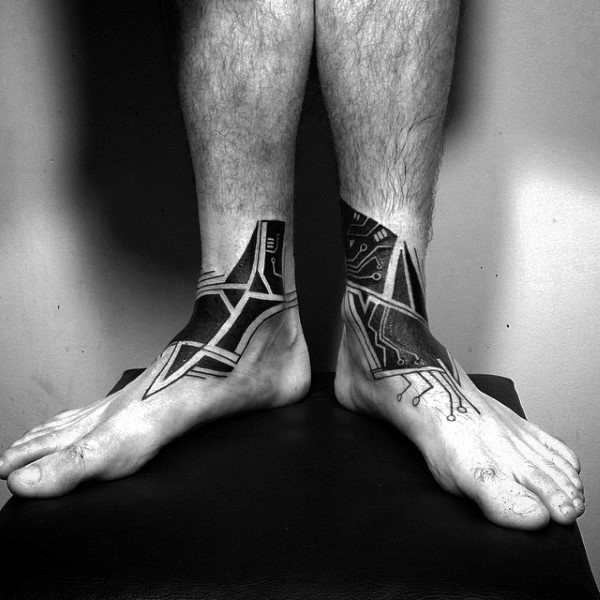 Mens Tribal Circuit Board Lower Leg Ankle Tattoos