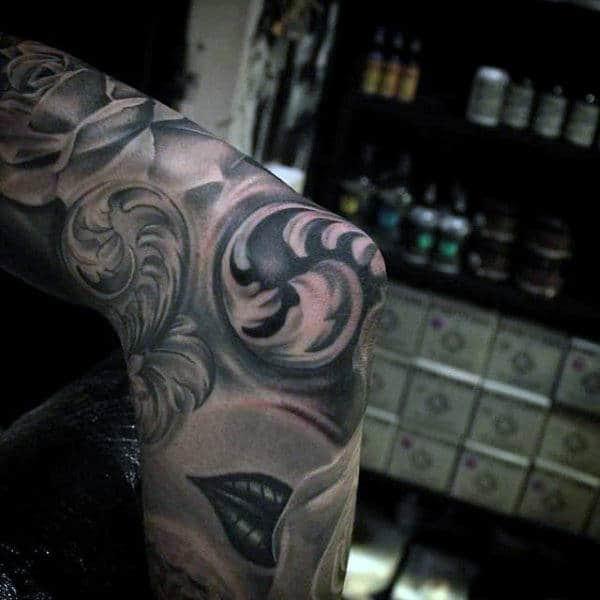 Mens Tribal Elbow Tattoo