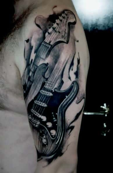 Men's Tribal Guitar Tattoo