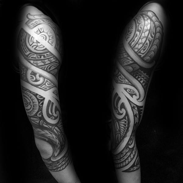 Mens Tribal Half Sleeve Tattoo Cool Polynesian Art Style