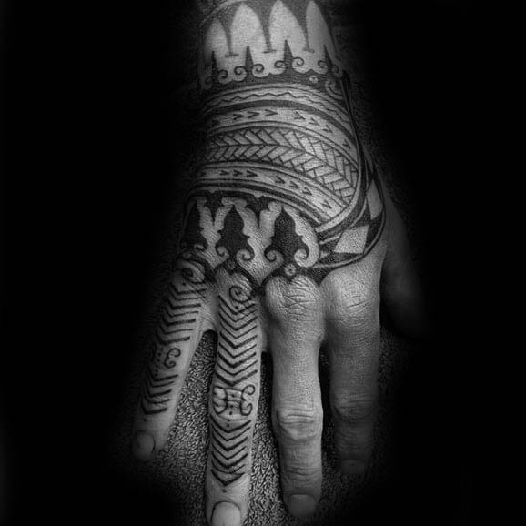 Mens Tribal Hand Tattoo Design Polynesian