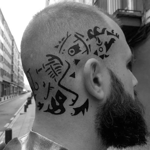 Mens Tribal Head Black Ink Tattoo With Ragnar Design