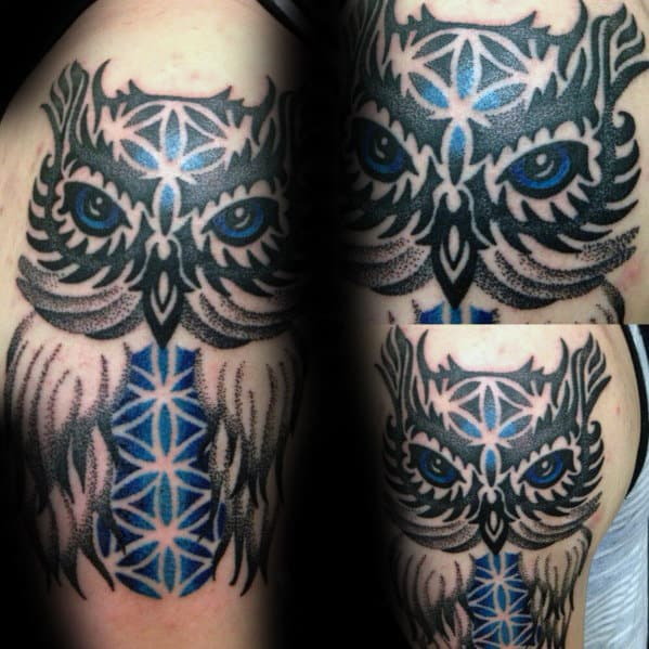 Mens Tribal Owl With Flower Of Life Geometric Design On Arm