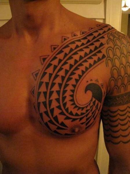 Men's Tribal Shoulder Tattoo Design