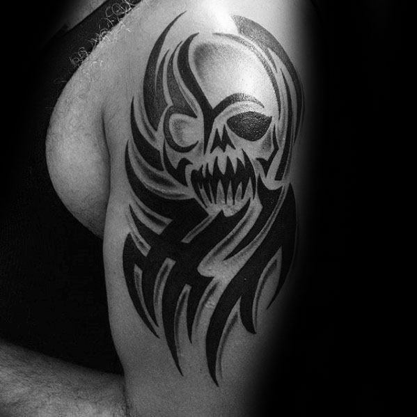 Mens Tribal Skull Tattoo Ideas