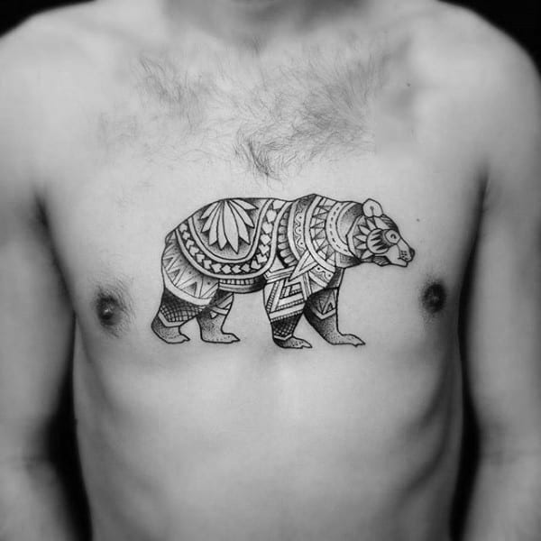 Mens Tribal Upper Chest California Bear Tattoos