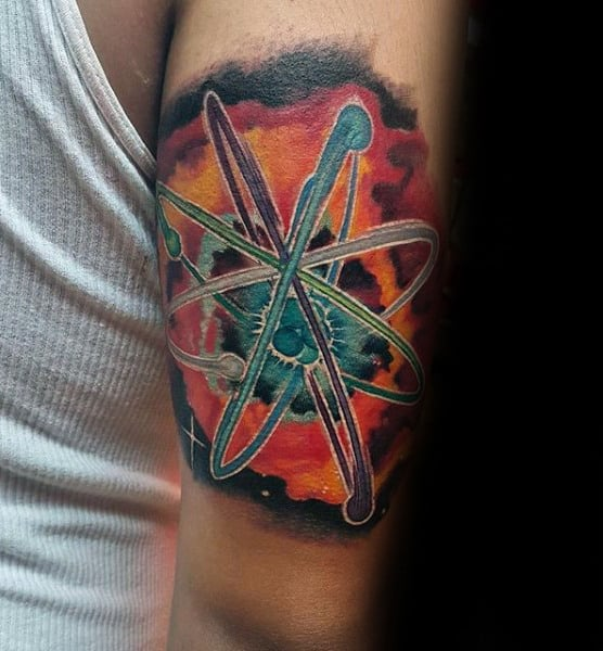 Mens Tricep Atom Chemistry Watercolor Tattoos