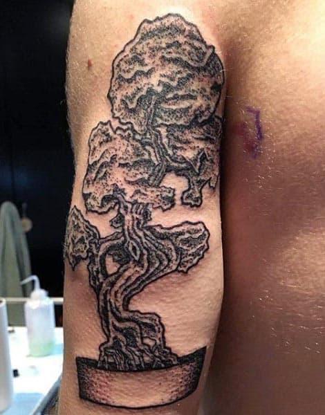 Mens Tricep Bonsai Tree Tattoo Design Ideas