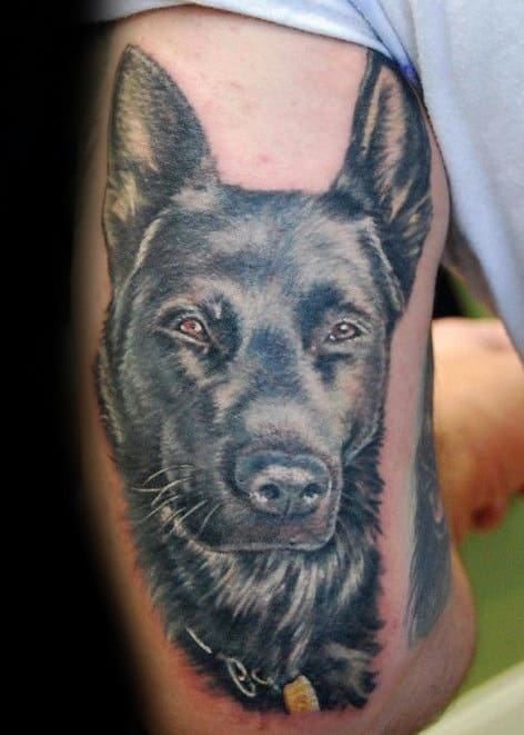 Mens Tricep German Shepherd Dog Tattoo Designs
