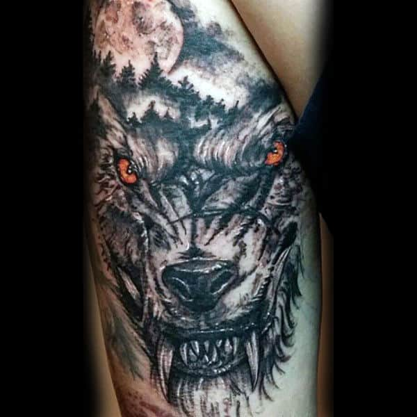Mens Triceps Amber Eyed Beast Tattoo