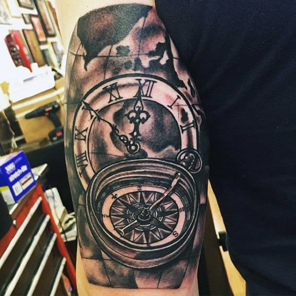 Mens Triceps Timepiece And Compass Tattoo