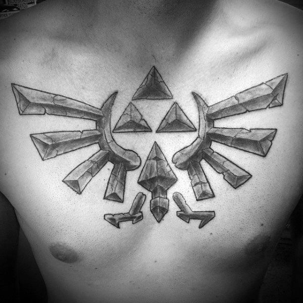 Mens Triforce Stone Tattoo Design Ideas On Upper Chest With Shaded Ink Design
