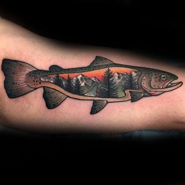 Mens Trout Fish With Nature Landscape Scene Inner Arm Bicep Tattoo