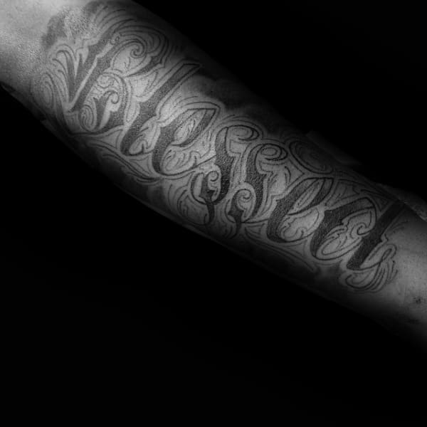 Mens Truly Blessed Tattoo On Arm